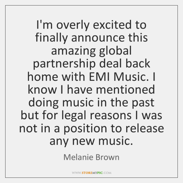 I'm overly excited to finally announce this amazing global partnership deal back ...