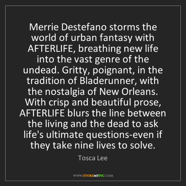 Tosca Lee: Merrie Destefano storms the world of urban fantasy with...