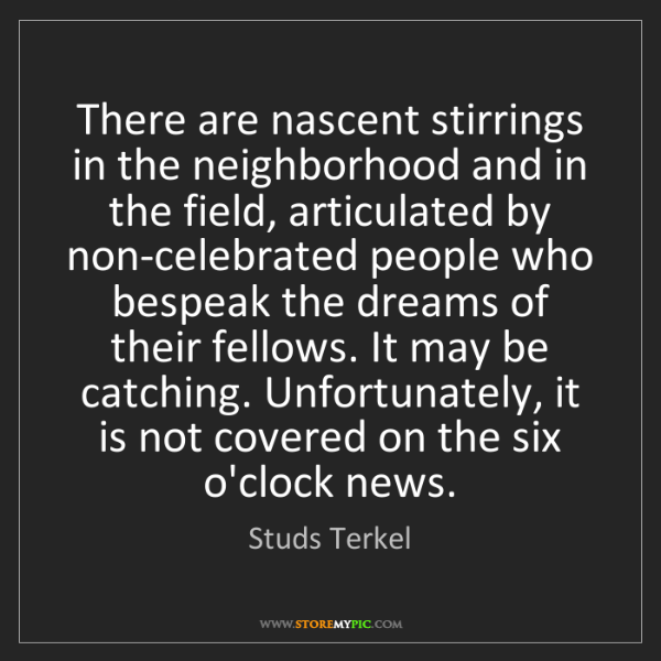 Studs Terkel: There are nascent stirrings in the neighborhood and in...