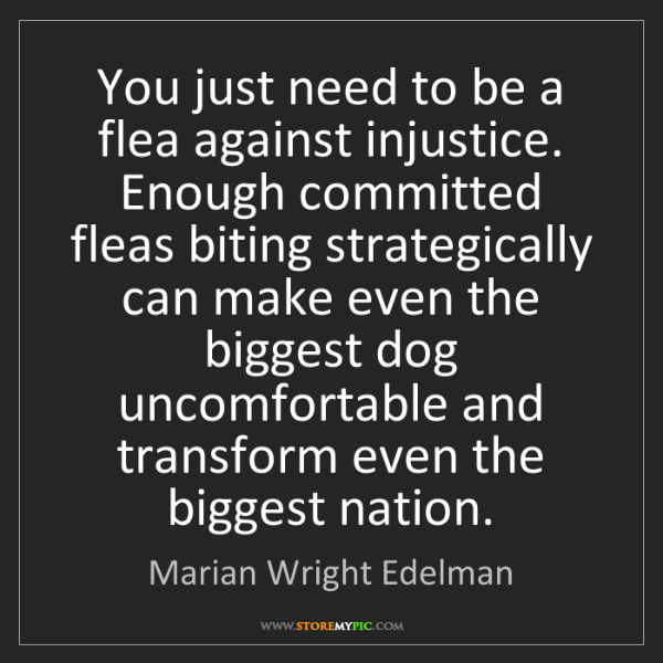 Marian Wright Edelman: You just need to be a flea against injustice. Enough...