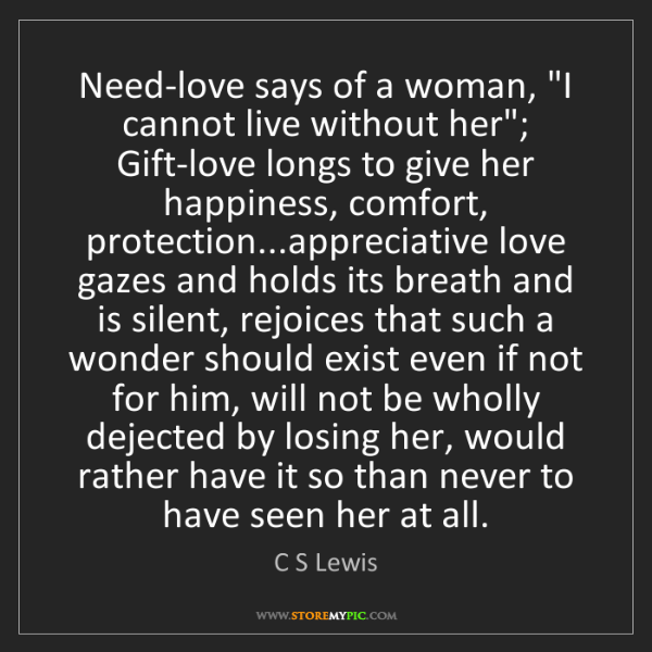 "C S Lewis: Need-love says of a woman, ""I cannot live without her"";..."