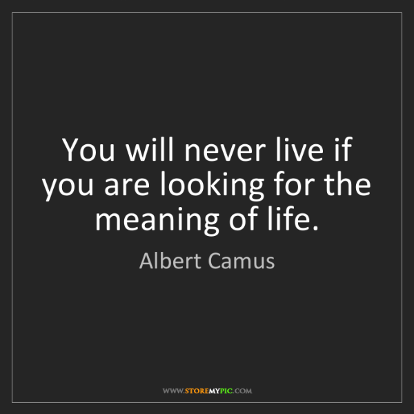 Albert Camus: You Will Never Live If You Are Looking For