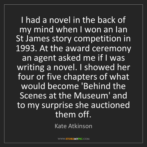Kate Atkinson: I had a novel in the back of my mind when I won an Ian...