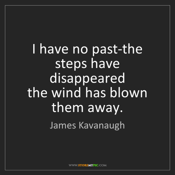 James Kavanaugh: I have no past-the steps have disappeared  the wind has...