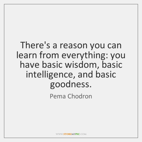 There's a reason you can learn from everything: you have basic wisdom, ...