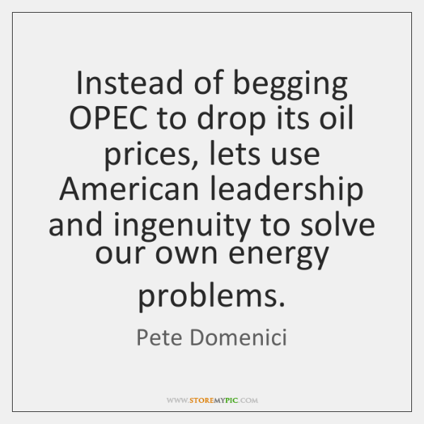 Instead of begging OPEC to drop its oil prices, lets use American ...