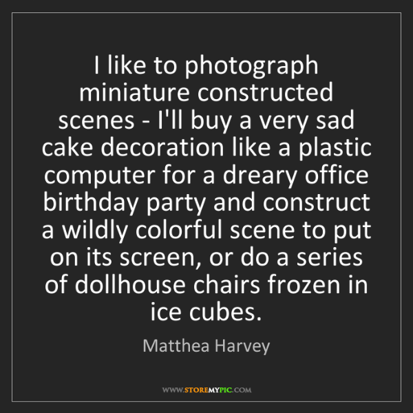 Matthea Harvey: I like to photograph miniature constructed scenes - I'll...