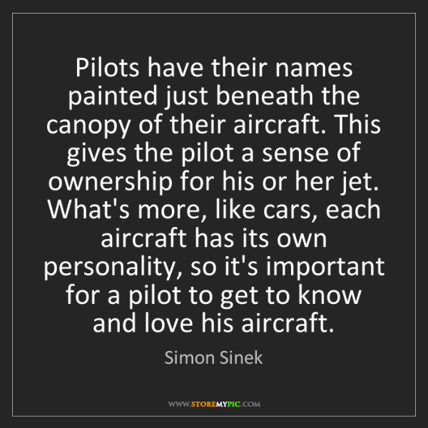 Simon Sinek: Pilots have their names painted just beneath the canopy...