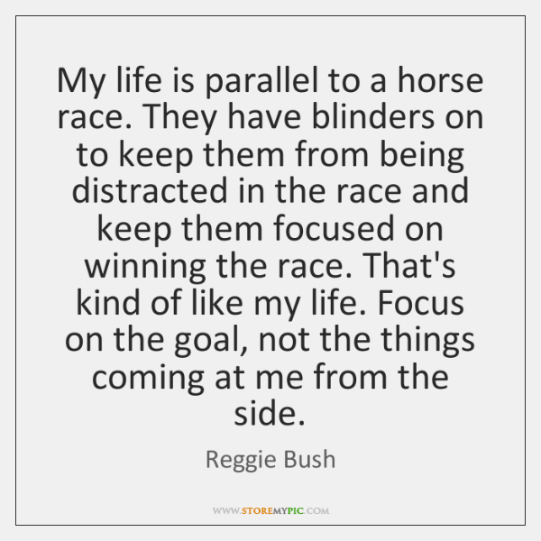 My life is parallel to a horse race. They have blinders on ...