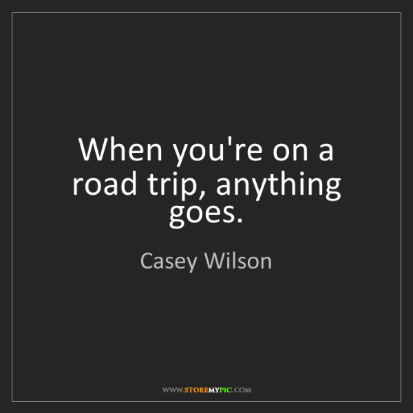 Casey Wilson: When you're on a road trip, anything goes.