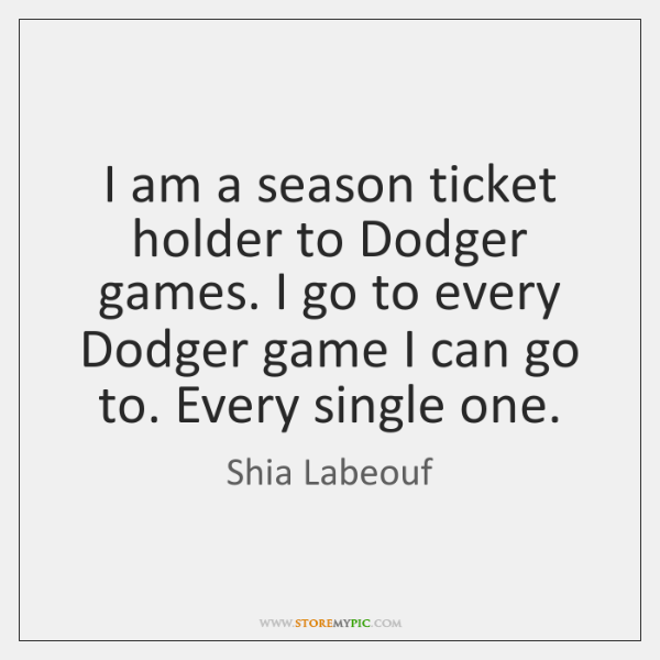 I am a season ticket holder to Dodger games. I go to ...