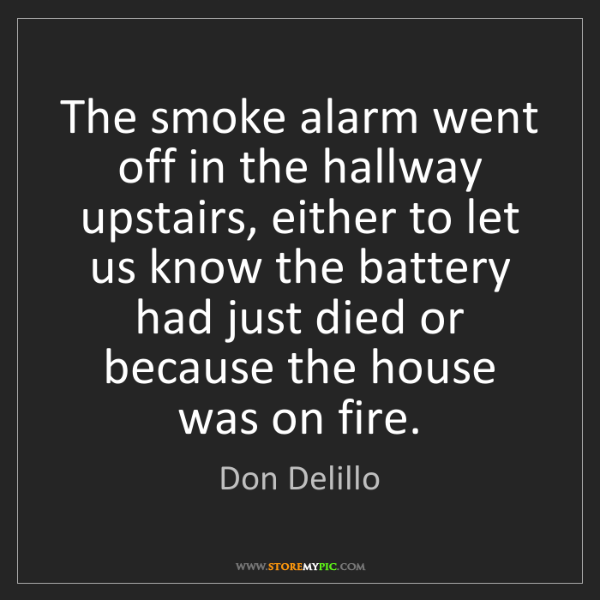 Don Delillo: The smoke alarm went off in the hallway upstairs, either...