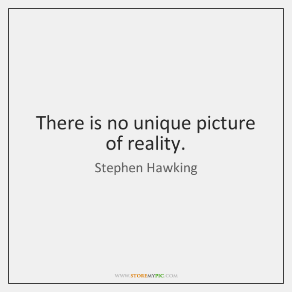 There is no unique picture of reality.