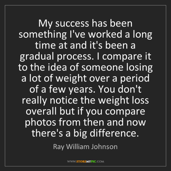 Ray William Johnson: My success has been something I've worked a long time...