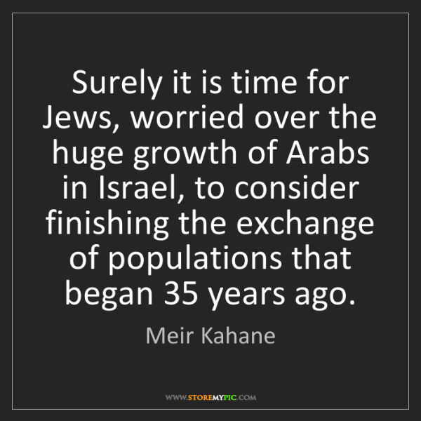 Meir Kahane: Surely it is time for Jews, worried over the huge growth...