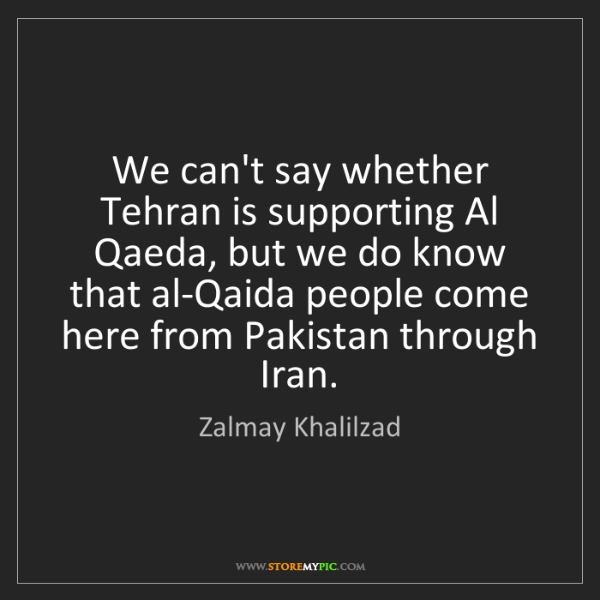 Zalmay Khalilzad: We can't say whether Tehran is supporting Al Qaeda, but...