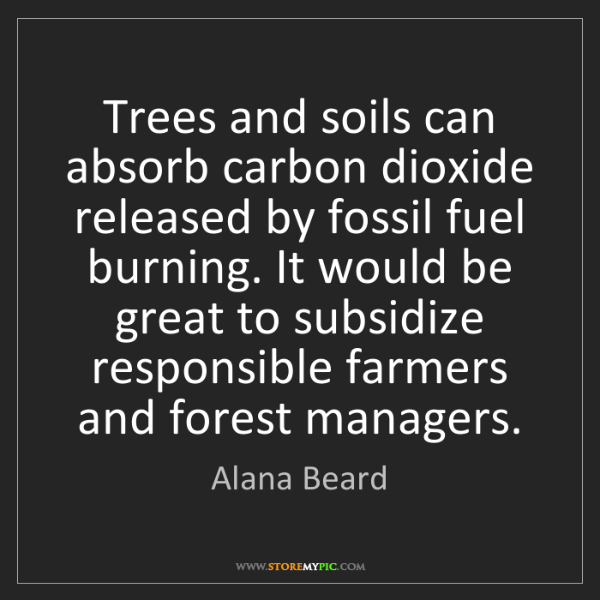 Alana Beard: Trees and soils can absorb carbon dioxide released by...