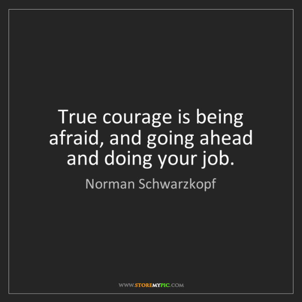 Norman Schwarzkopf: True courage is being afraid, and going ahead and doing...