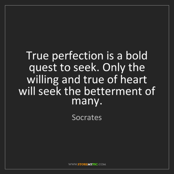 Socrates: True perfection is a bold quest to seek. Only the willing...