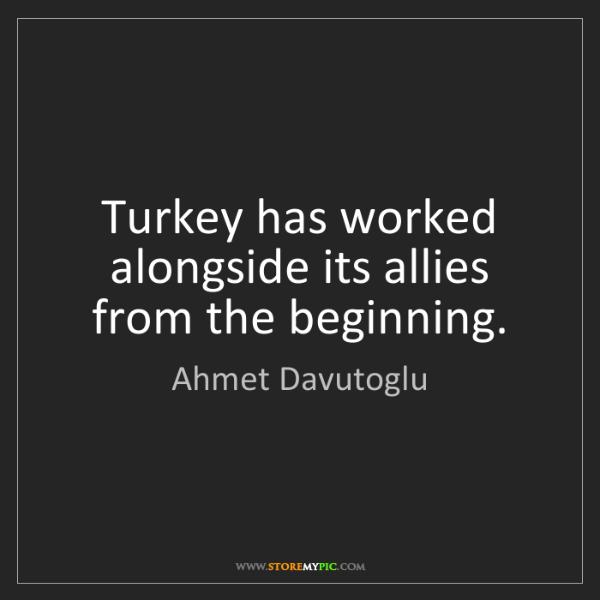 Ahmet Davutoglu: Turkey has worked alongside its allies from the beginning.