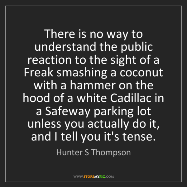 Hunter S Thompson: There is no way to understand the public reaction to...