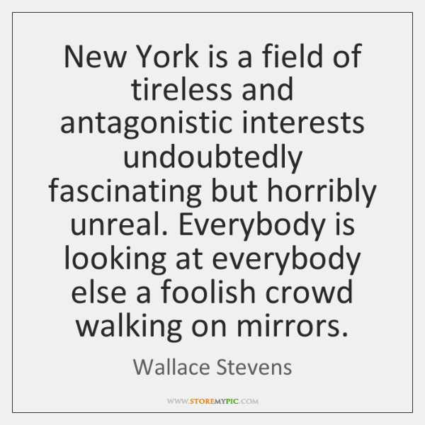 New York is a field of tireless and antagonistic interests undoubtedly fascinating ...
