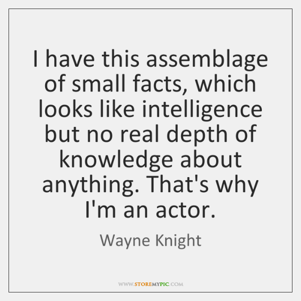 I have this assemblage of small facts, which looks like intelligence but ...
