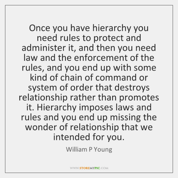 Once you have hierarchy you need rules to protect and administer it, ...