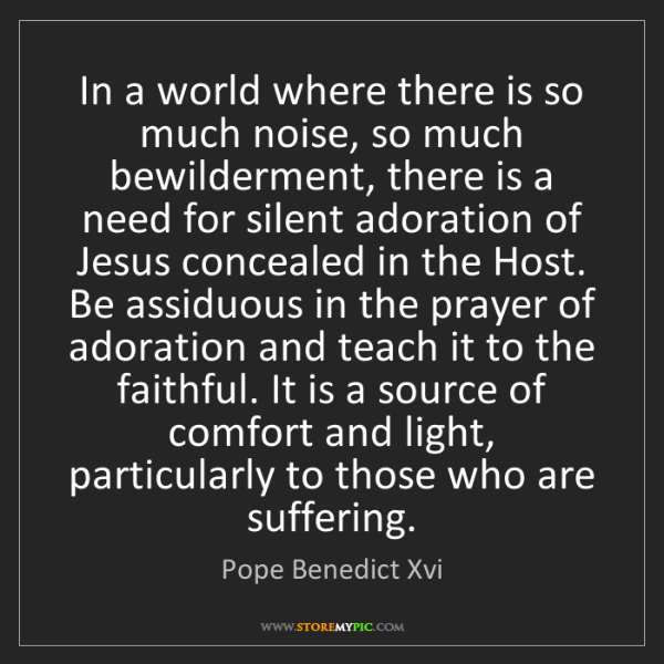 Pope Benedict Xvi: In a world where there is so much noise, so much bewilderment,...