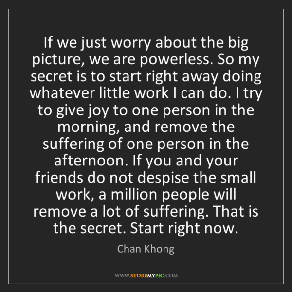 Chan Khong: If we just worry about the big picture, we are powerless....