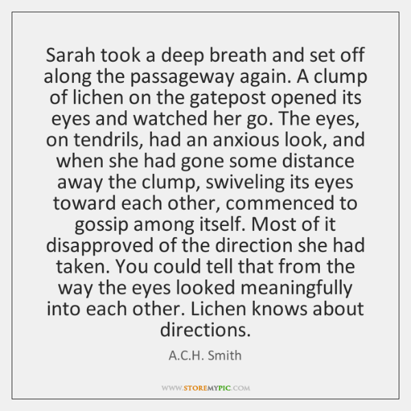 Sarah took a deep breath and set off along the passageway again. ...