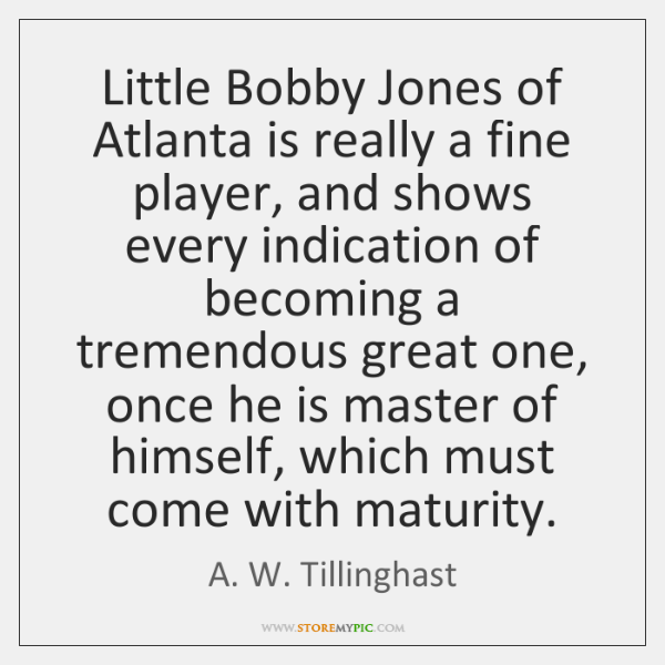 Little Bobby Jones of Atlanta is really a fine player, and shows ...