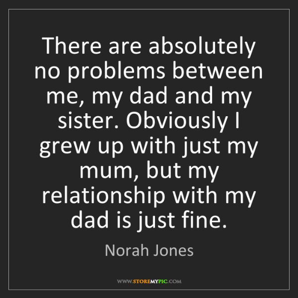 Norah Jones: There are absolutely no problems between me, my dad and...