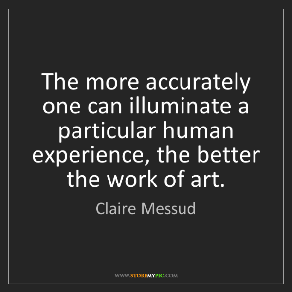 Claire Messud: The more accurately one can illuminate a particular human...