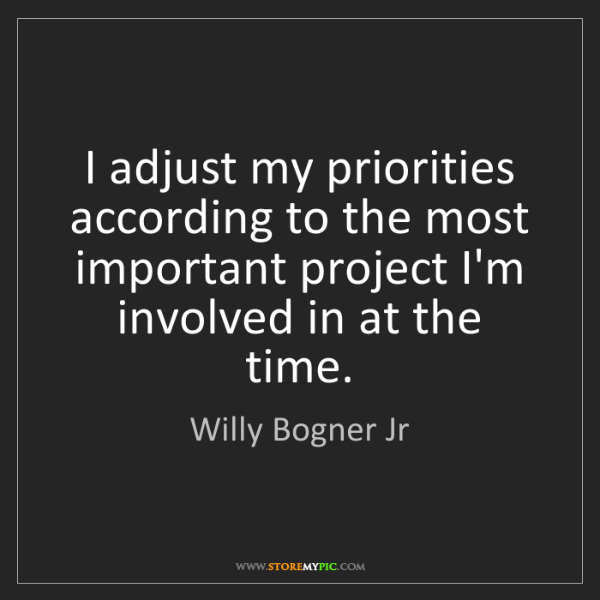 Willy Bogner Jr: I adjust my priorities according to the most important...