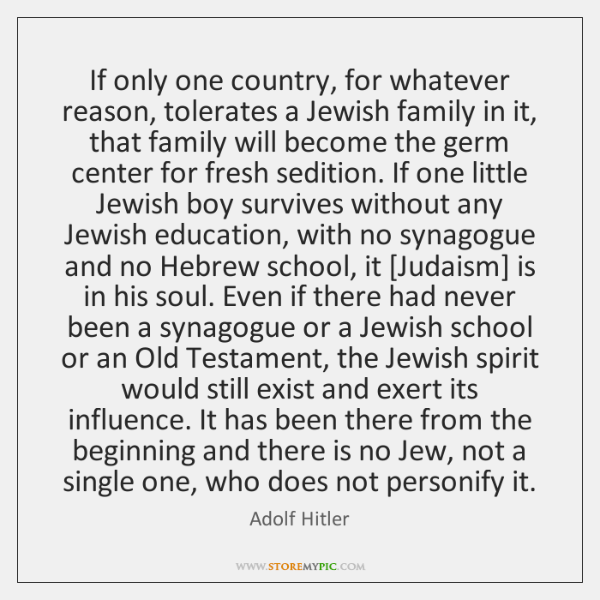 If only one country, for whatever reason, tolerates a Jewish family in ...