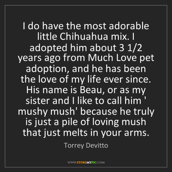 Torrey Devitto: I do have the most adorable little Chihuahua mix. I adopted...