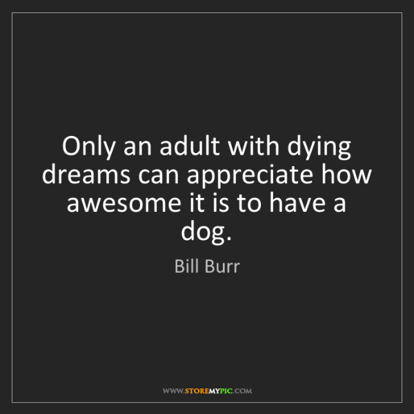 Bill Burr: Only an adult with dying dreams can appreciate how awesome...
