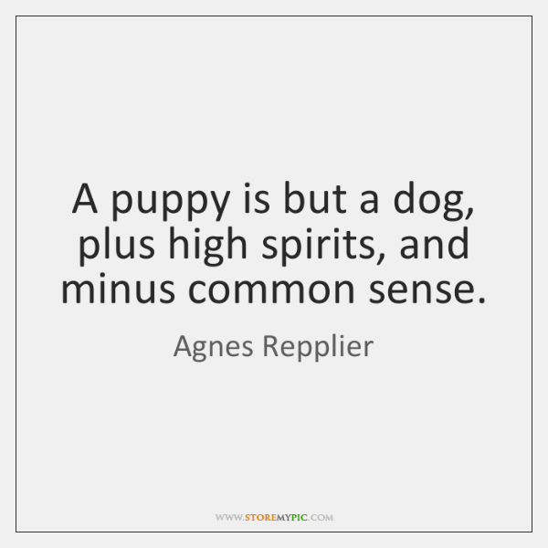 A puppy is but a dog, plus high spirits, and minus common ...