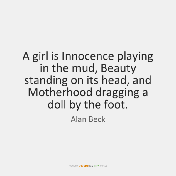 A girl is Innocence playing in the mud, Beauty standing on its ...