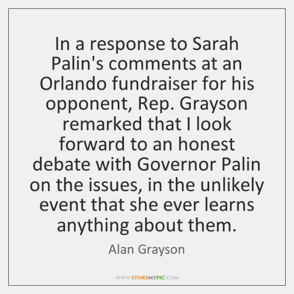 In a response to Sarah Palin's comments at an Orlando fundraiser for ...