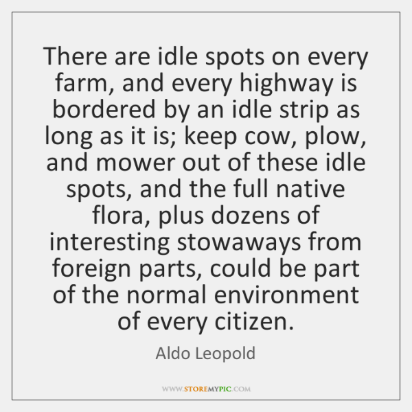 There are idle spots on every farm, and every highway is bordered ...