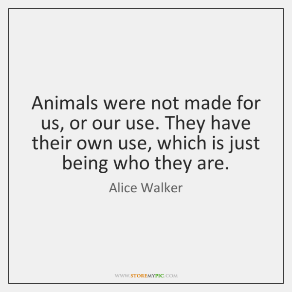 Animals were not made for us, or our use. They have their ...