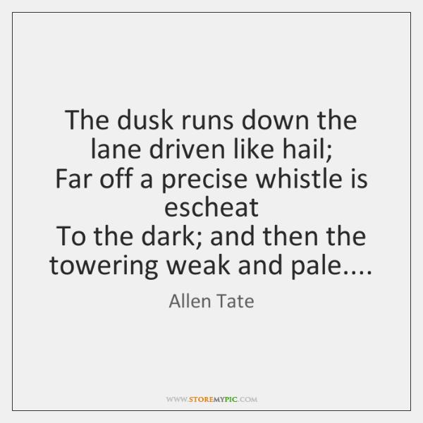 The dusk runs down the lane driven like hail;  Far off a ...