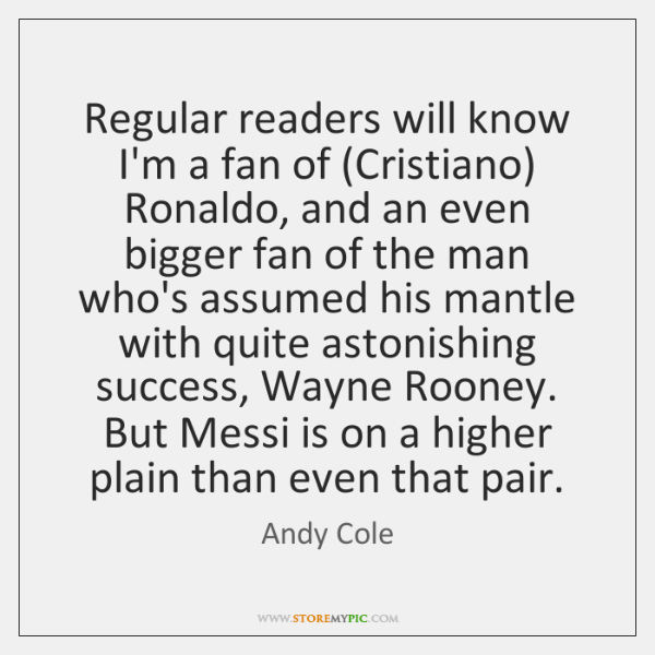 Regular readers will know I'm a fan of (Cristiano) Ronaldo, and an ...