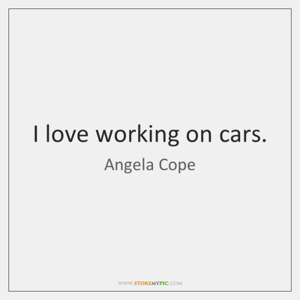 I love working on cars.