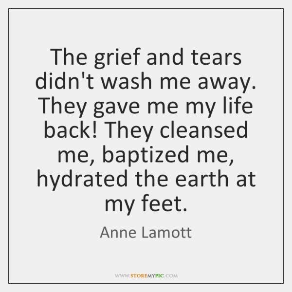 The grief and tears didn't wash me away. They gave me my ...