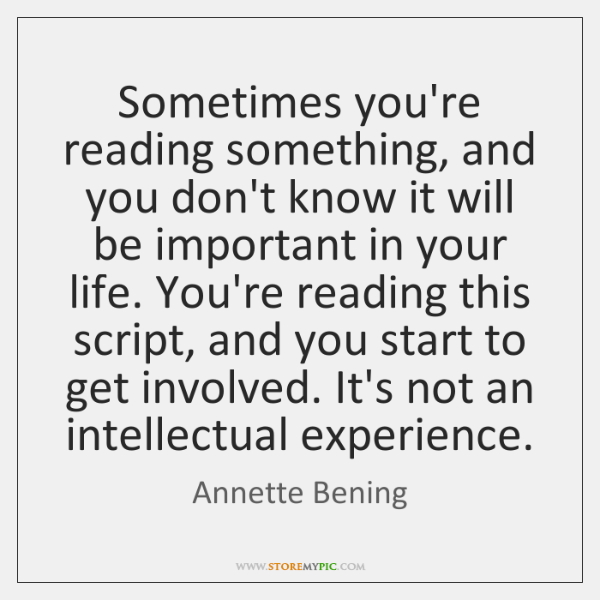 Sometimes you're reading something, and you don't know it will be important ...