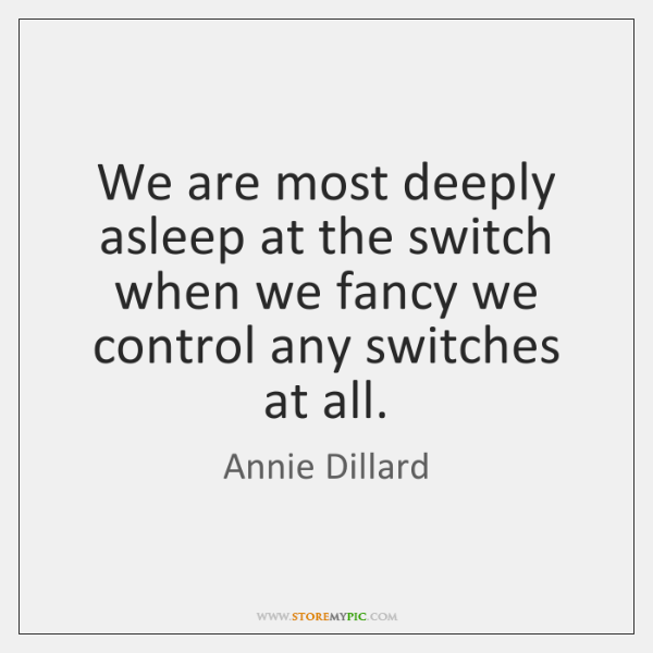 We are most deeply asleep at the switch when we fancy we ...