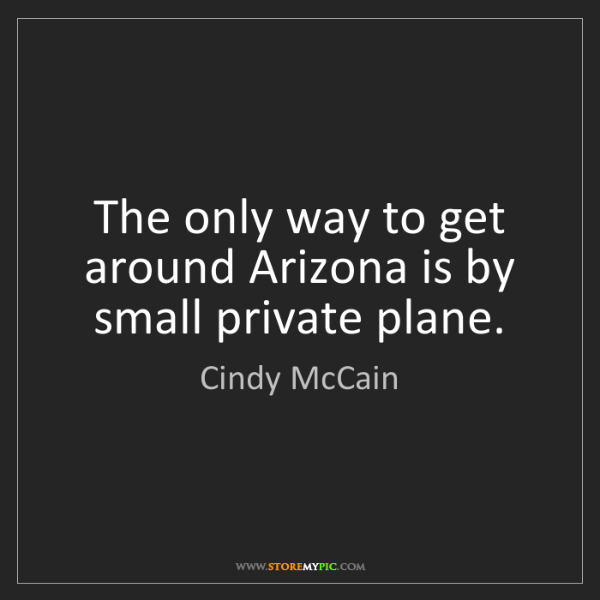 Cindy McCain: The only way to get around Arizona is by small private...